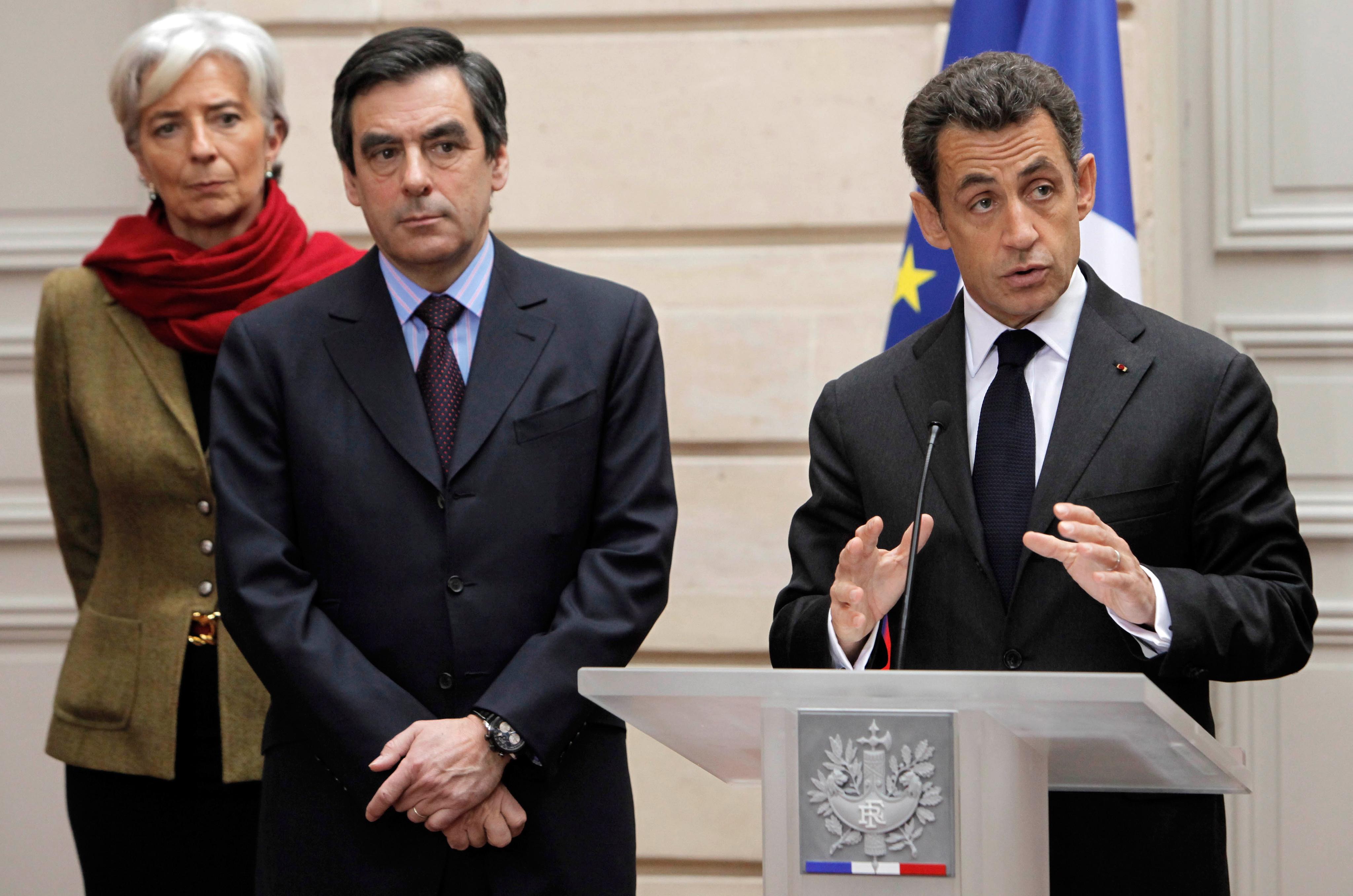 Кристин Лагард, Франсуа Фийон и Николя Саркози. Фото: EPA