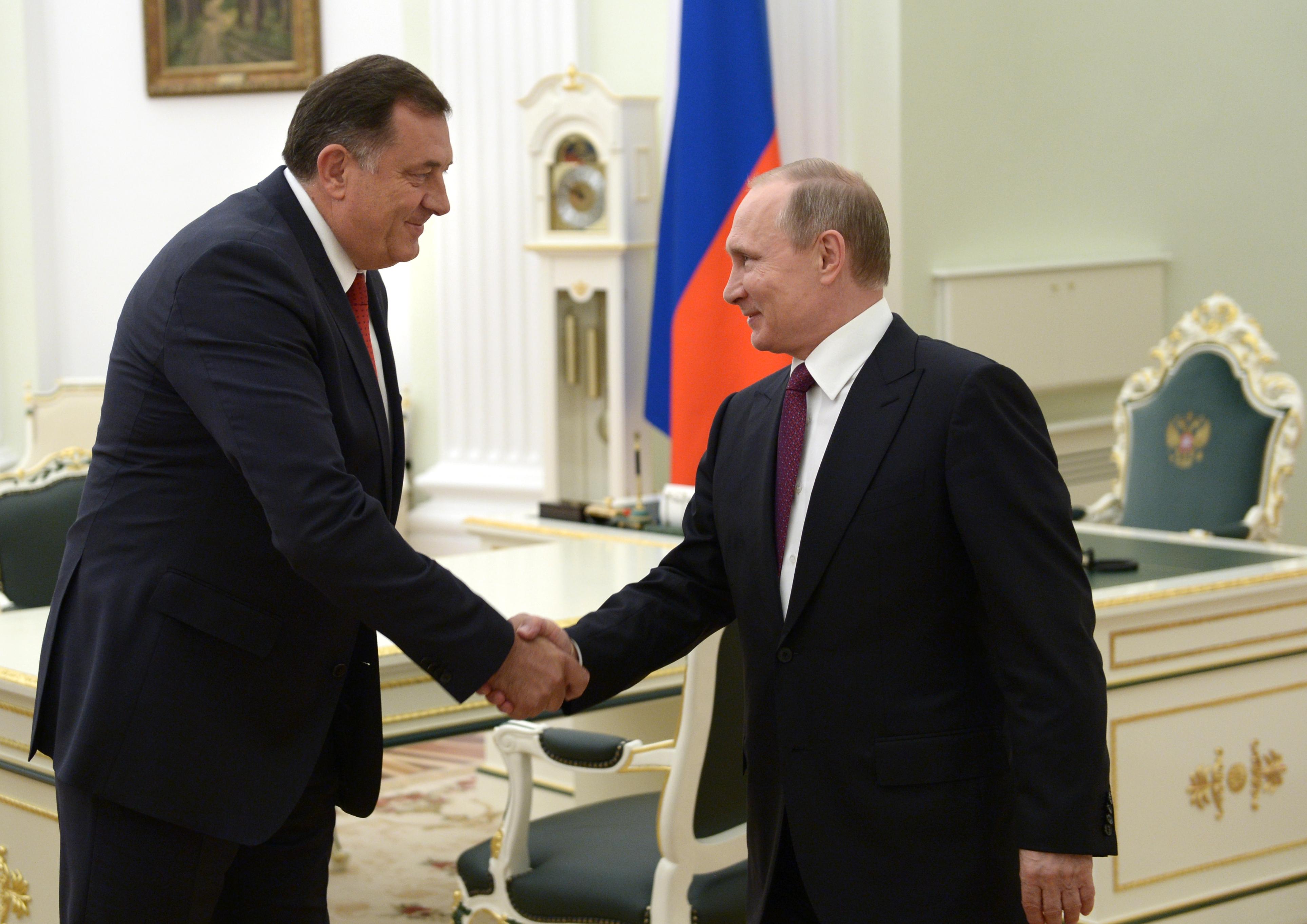 Президент Республики Сербской Милорад Додик и президент России Владимир Путин. Фото: EPA