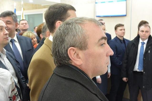 Виталий Чугунников во время визита Порошенко в Ривне в январе 2016 года