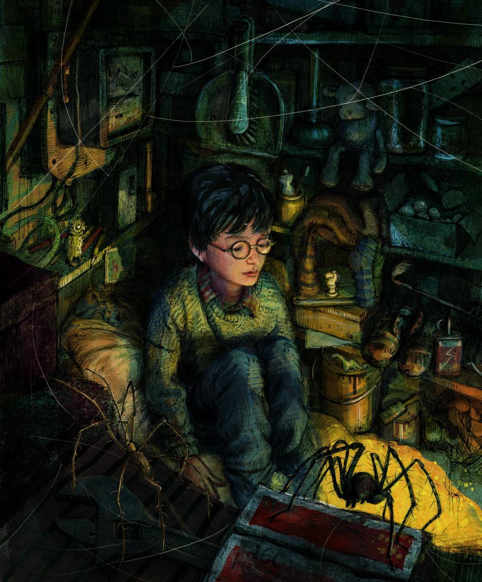 Гарри Поттер в чулане под лестницей. Иллюстрация Джима Кея