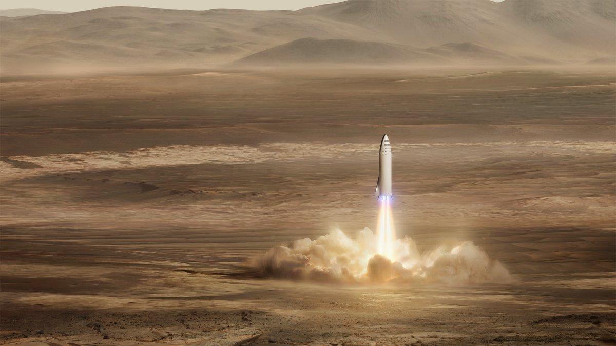 BFR стартует с поверхности Марса / Источник: SpaceX