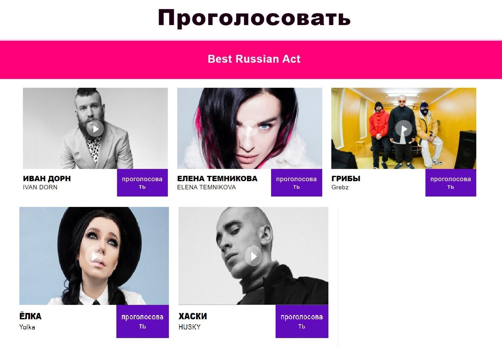 Дорн и«Грибы» номинированы напремию MTV Europe Music Awards от Российской Федерации