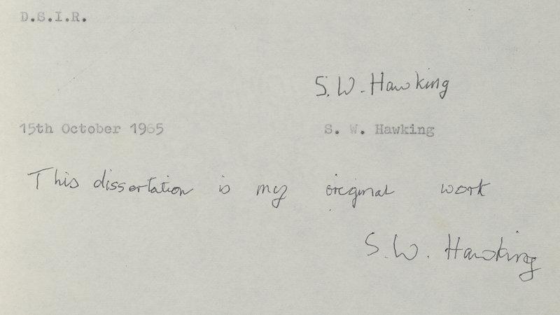 Желающие скачать диссертацию Хокинга перегрузили серверы  Подпись Стивена Хокинга Эта диссертация является моей оригинальной работой