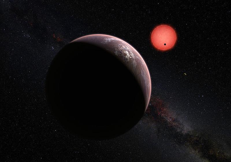 Представление художника о системе TRAPPIST-1: вид с орбиты