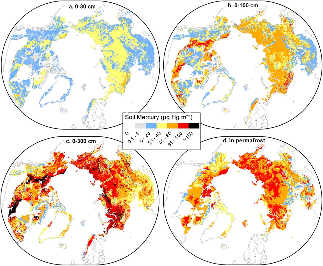 Распределение ртути в зонах вечной мерзлоты Северного полушария для четырех слоев почвы: 0-30 см, 0-100 см, 0-300 см / Geophysical Research Letters, 2018