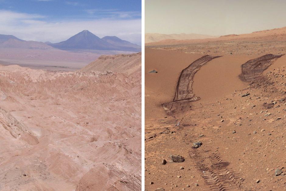 Пустыня Атакама (справа) и Марс (слева) / Фото: Robin Fernandes / Flicr, NASA/JPL-Caltech/MSSS