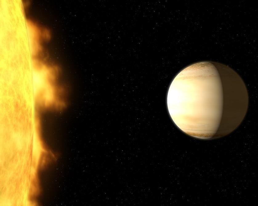 Экзопланета WASP-39b и ее звезда в представлении художника / Источник: NASA, ESA, and G. Bacon (STScI)