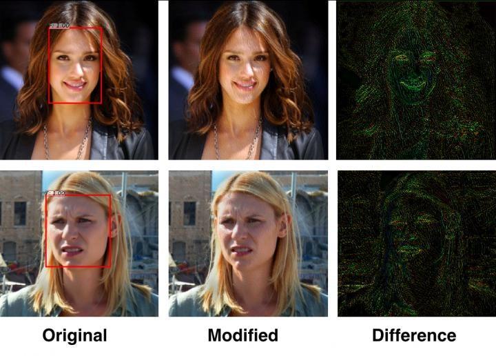 Так выглядят исправленные алгоритмом фотографии Джессики Альбы и Кирстен Данст. Тонких изменений хватило, чтобы обмануть систему распознавания лиц / Источник: Avishek Bose