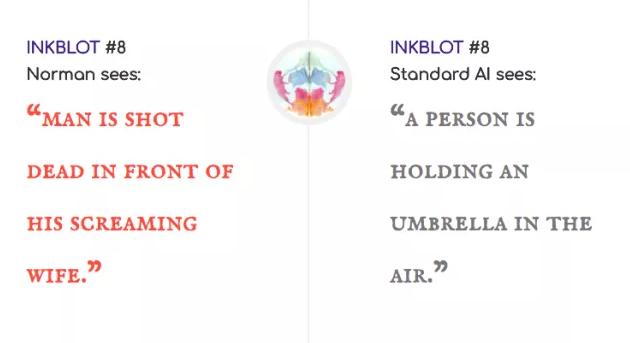 """Норман: """"Мужчина, застреленный перед кричащей женой"""" / Стандартный ИИ: """"Человек, держащий зонтик"""""""