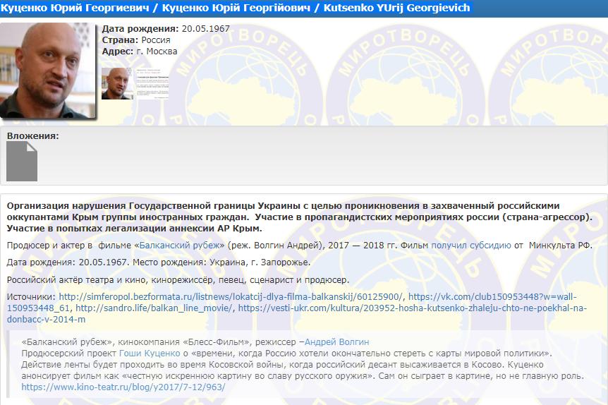 Гоша Куценко попал вбазу «Миротворца»