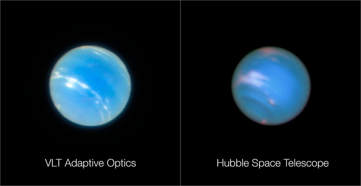 """Изображение слева получено ОБТ, изображение справа - космическим телескопом """"Хаббл"""""""