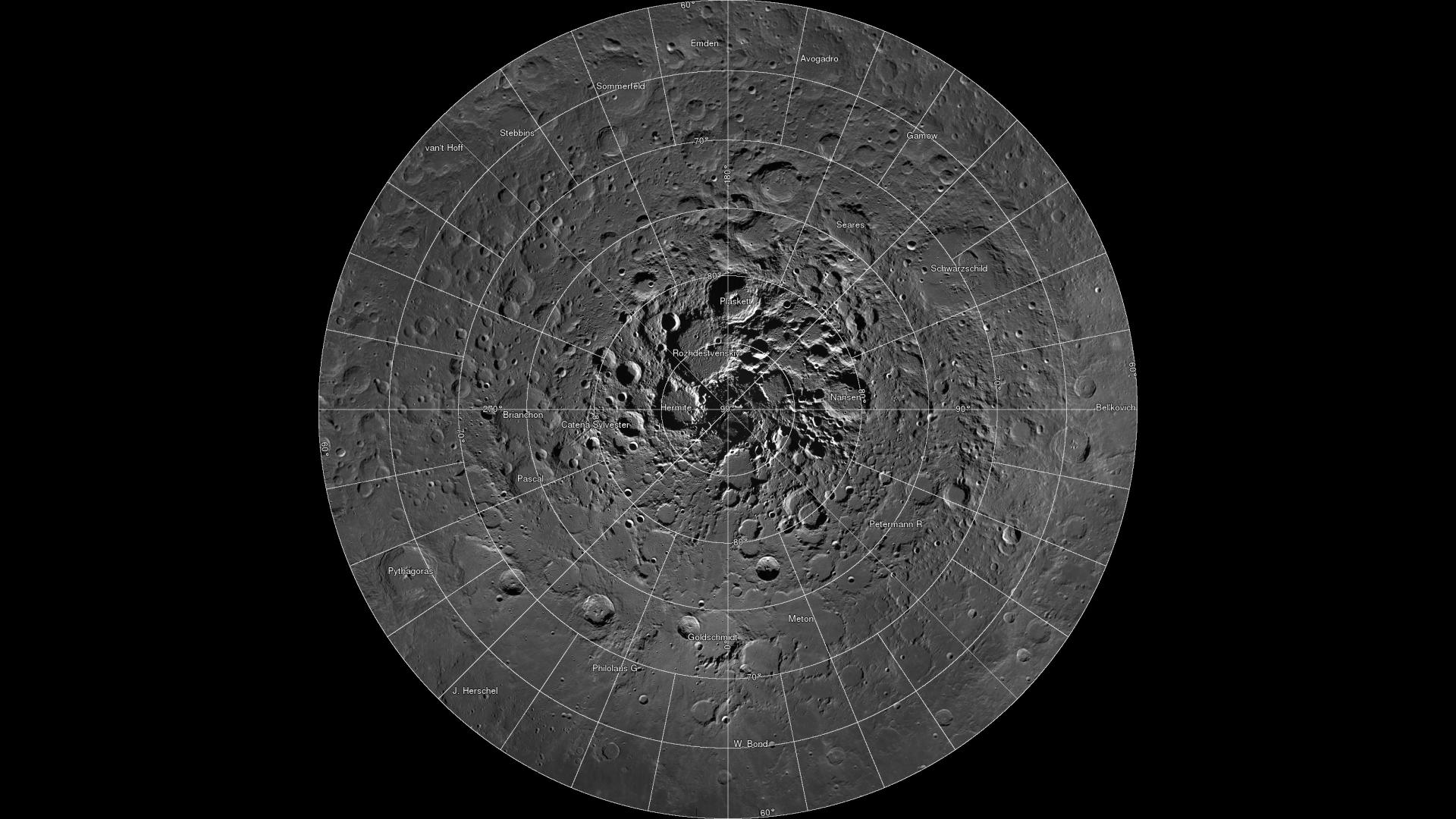 Примерно в 40 кратерах в районе Северного полюса Луны уже найдено около 0,6 км³ льда / NASA