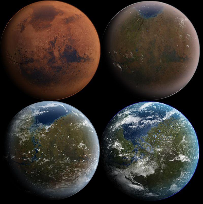Этапы терраформирования Марса в представлении художника / Daein Ballard / Wikipedia
