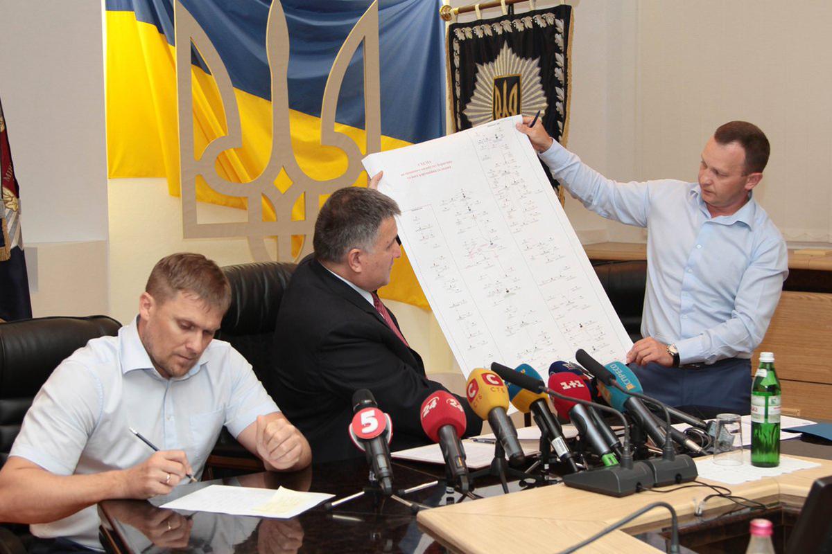 Многие из утвержденных сотрудников ГБР — креатуры главы МВД Арсена Авакова (в центре) и замглавы Нацполиции Игоря Купранца (справа)