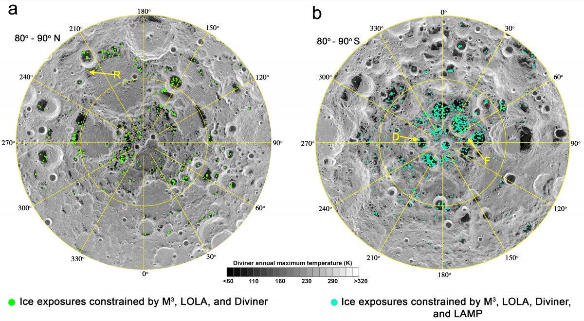 Карта «холодных ловушек» внутри лунных кратеров на северном полюсе Луны (слева) и южном полюсе (справа). Зеленые точки показывают места, где водный лед может присутствовать на поверхности или вблизи нее
