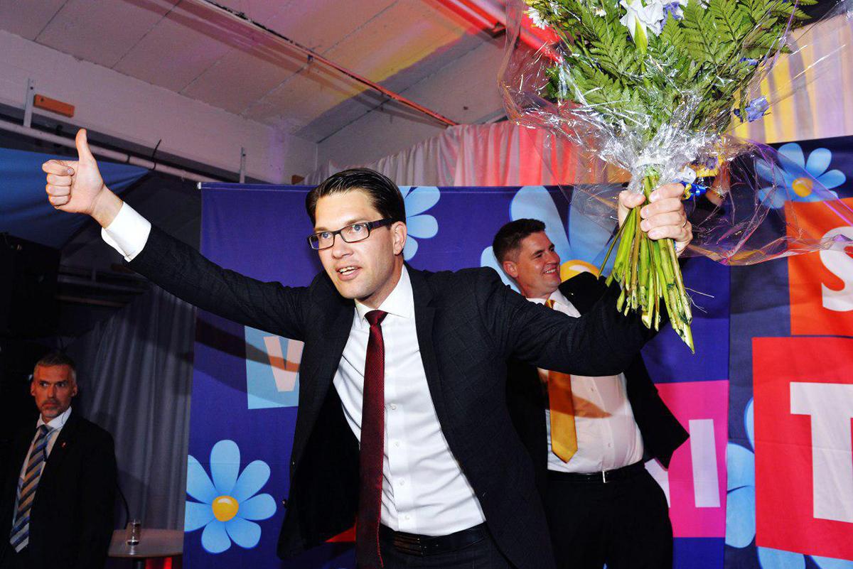 """Лидер националистов """"Шведские демократы"""" Йимми Окессон после оглашения результатов выборов 2014 года, на которых его партия получила вдвое больше голосов, чем ранее"""