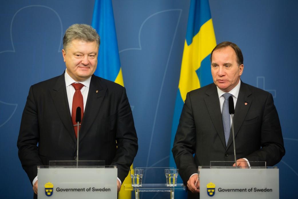 Президент Украины Петр Порошенко и премьер-министр Швеции Стефан Лёвен
