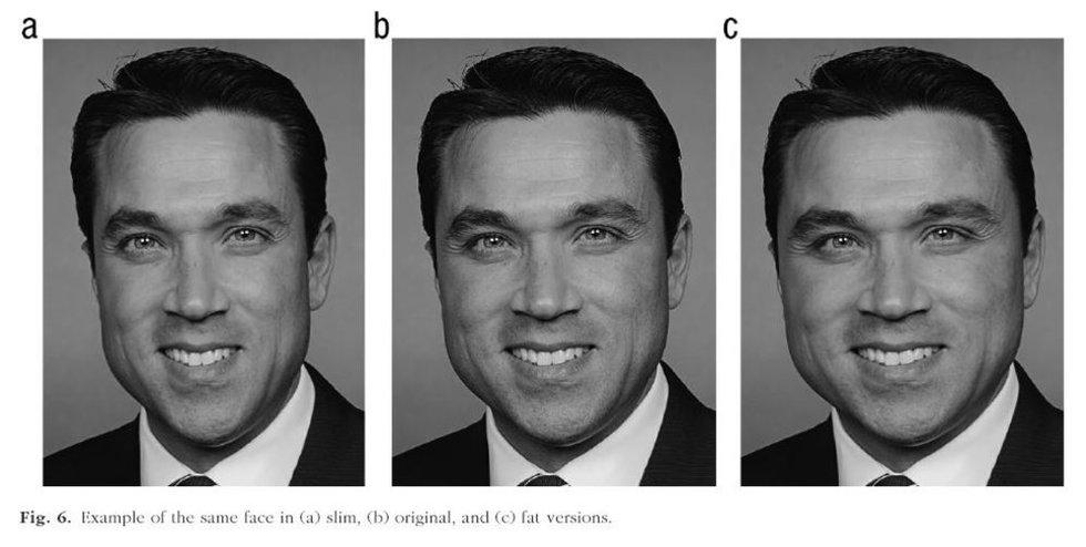 A - уменьшенное в графическом редакторе лицо, B - оригинальный снимок, С - расширенное лицо / CalTech