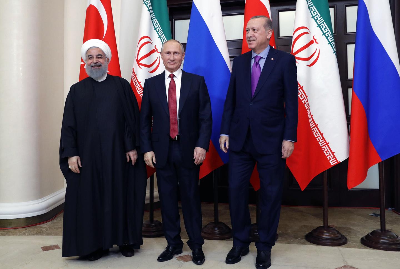 Президенты: Ирана - Роухани, России - Путин, Турции - Эрдоган. Сочи, 2018 год