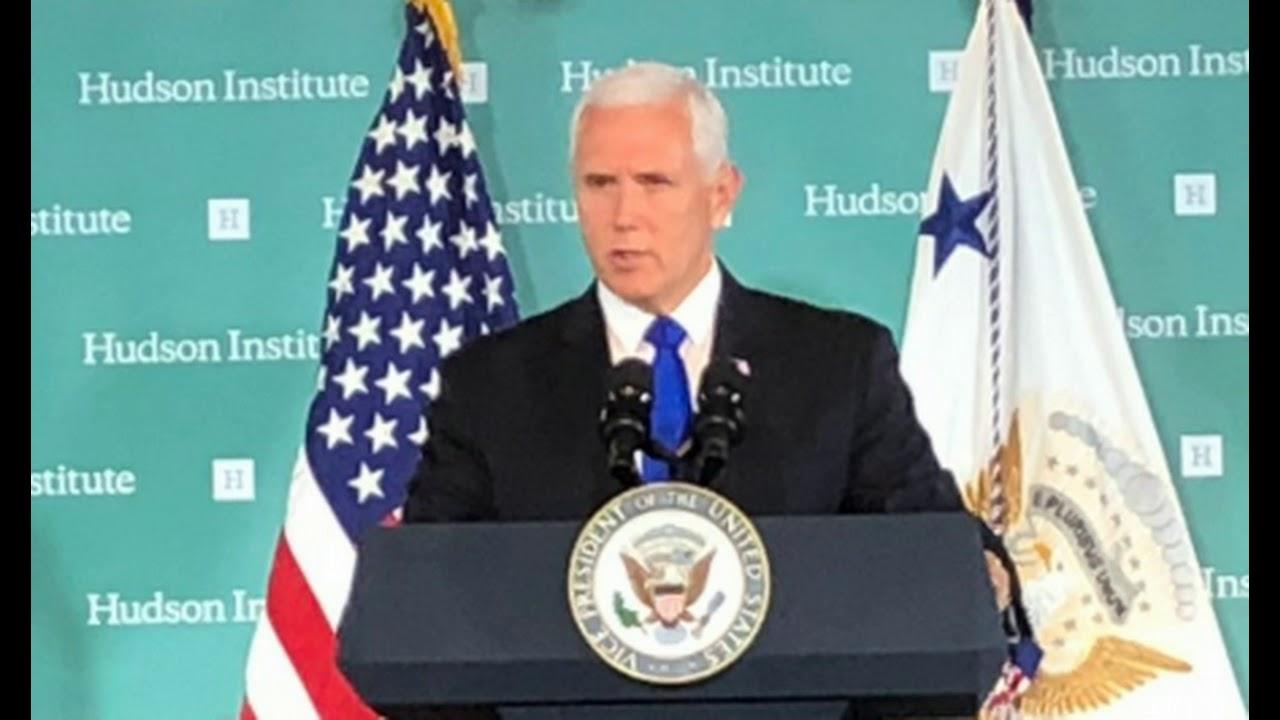 Вице-президент США Майк Пенс, выступая в Гудзоновском институте в Вашингтоне, говорил о вмешательство Китая во внутренние дела Америки