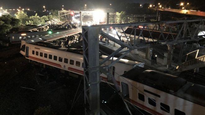 НаТайване поезд сошел срельсов, погибли 17 человек
