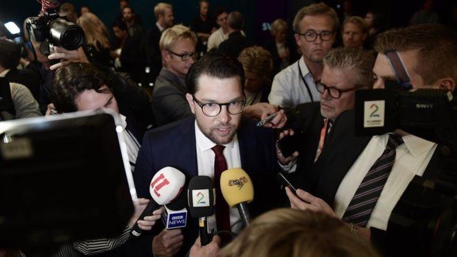 Йимми Окессон, лидер праворадикальной партии «Шведские демократы», которая третьи выборы подряд получает третью по величине фракцию в парламенте