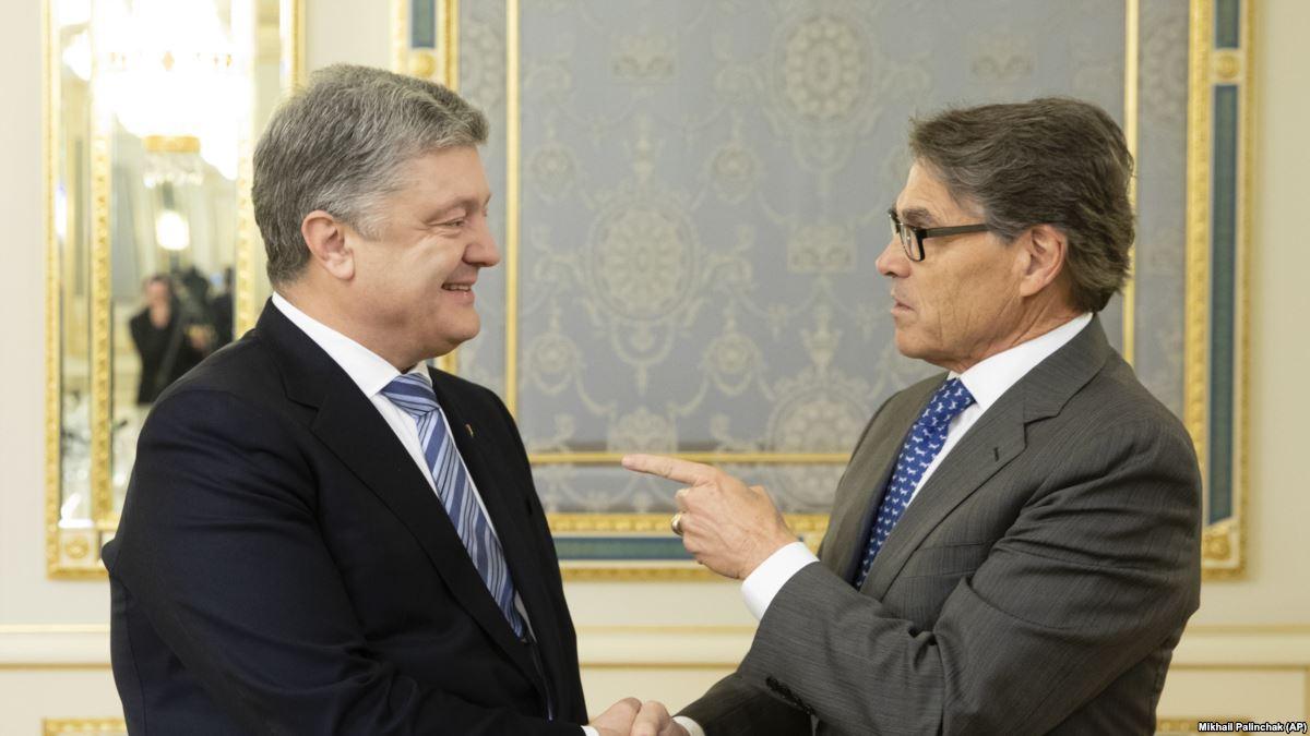 Президент Петр Порошенко и министр энергетики США Рик Перри