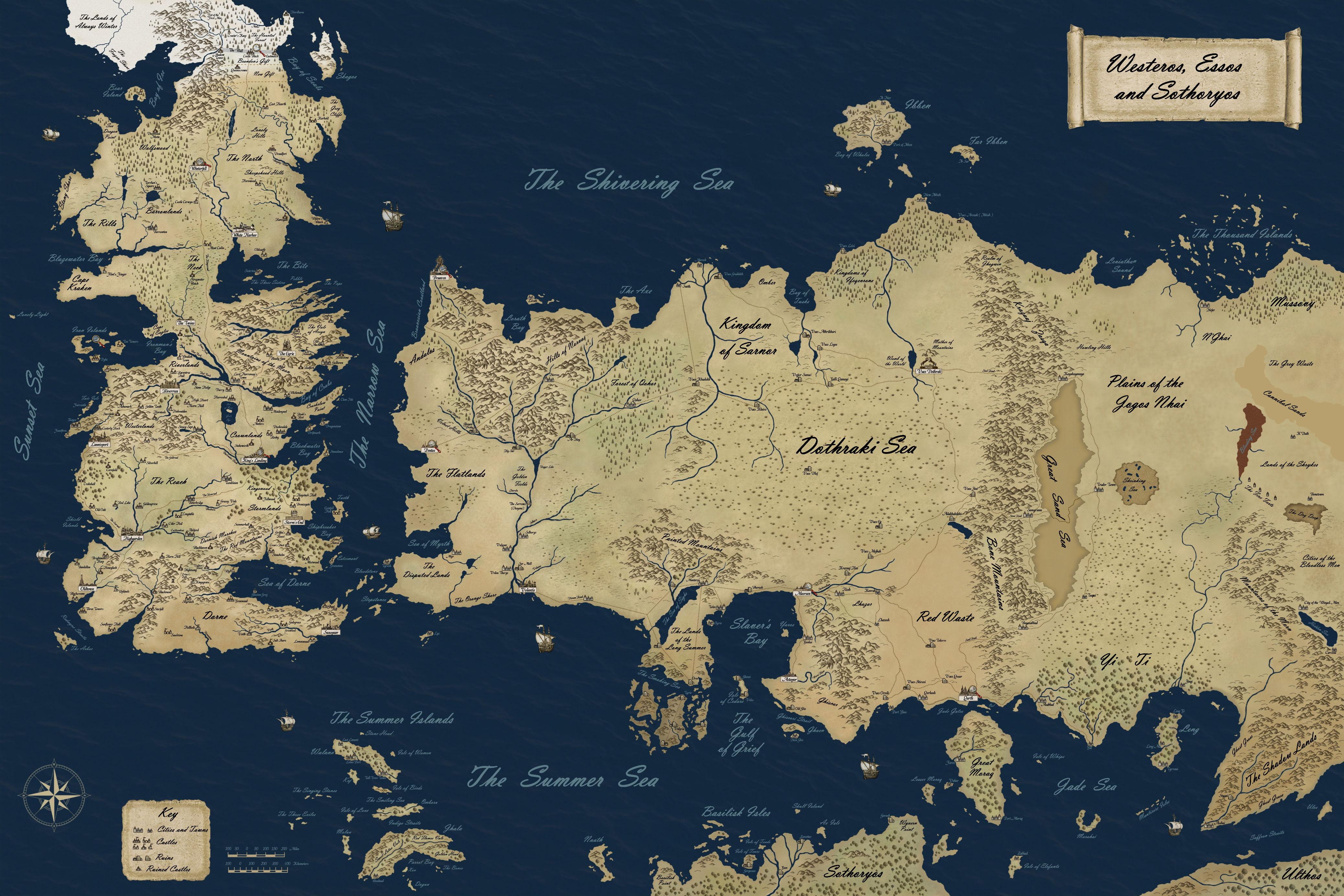 Карта мира Джорджа Мартина. Континенты Вестерос, Эссос и Соториос