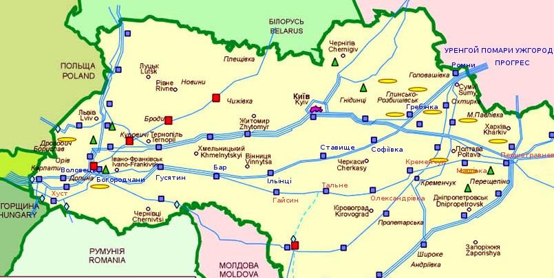 Транзит газа по украинской ГТС в Европу