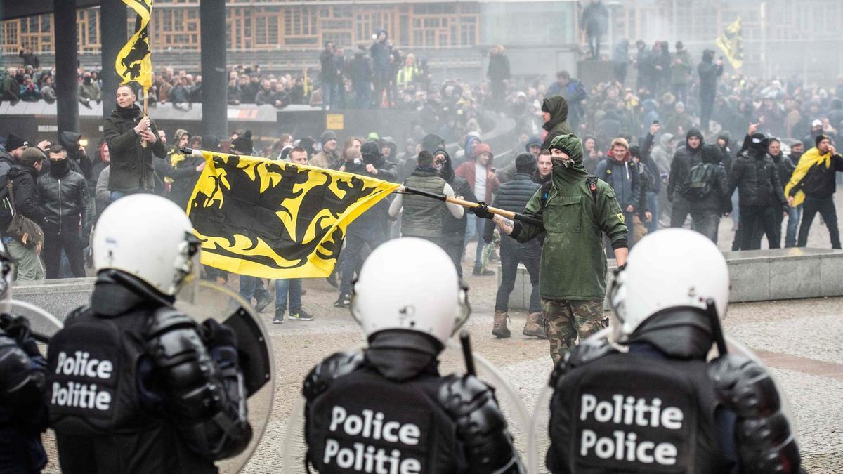 Протесты в Бельгии сторонников ультраправых националистов