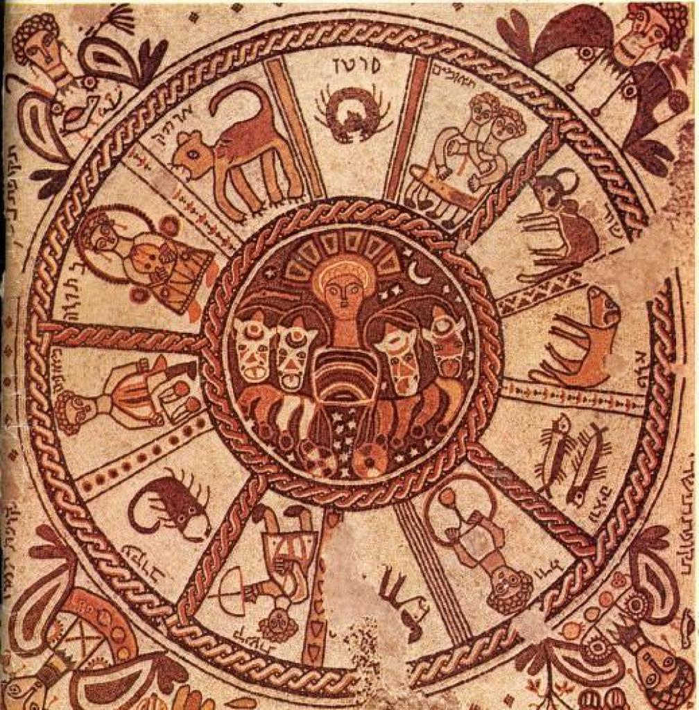 Изображение знаков зодиака на мозаичном полу синагоги Бейт Альфа, Израиль. VI век