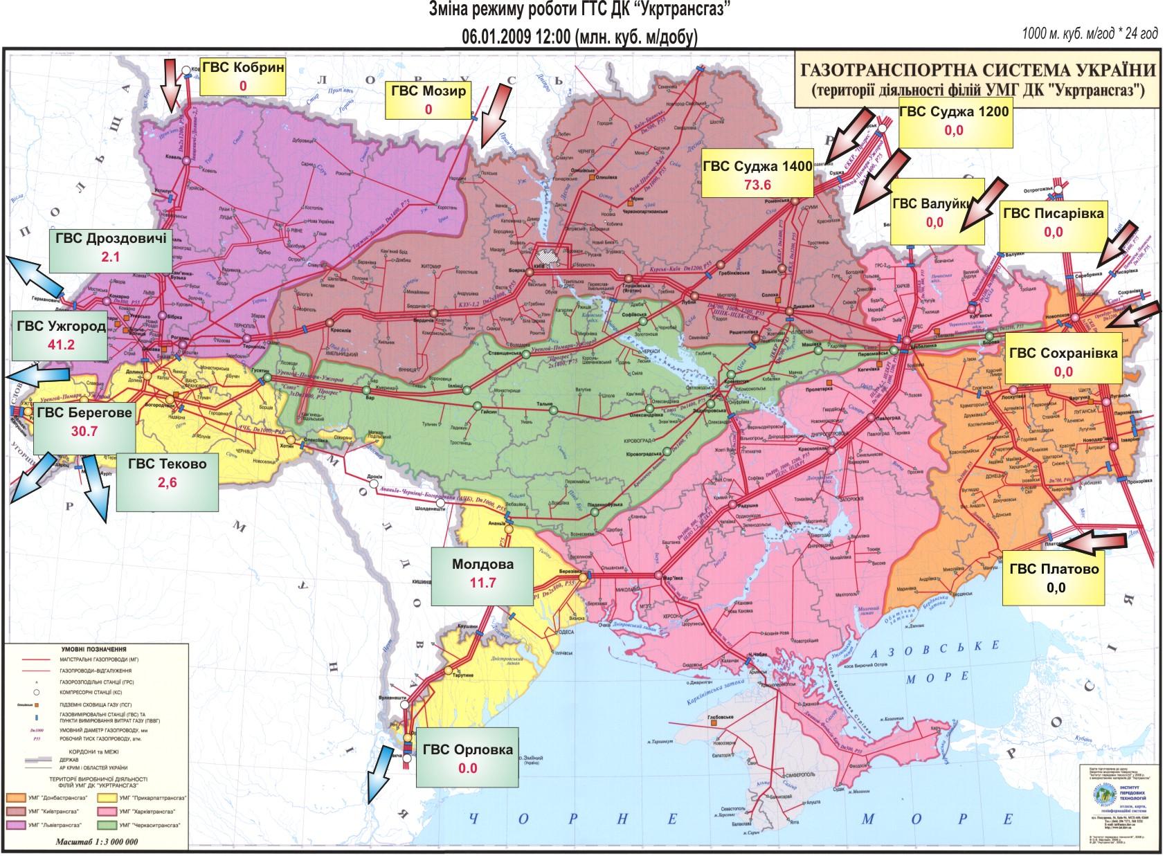В реверсном режиме работала украинская ГТС, когда Россия остановила поставки газа Украине в 2009 г.