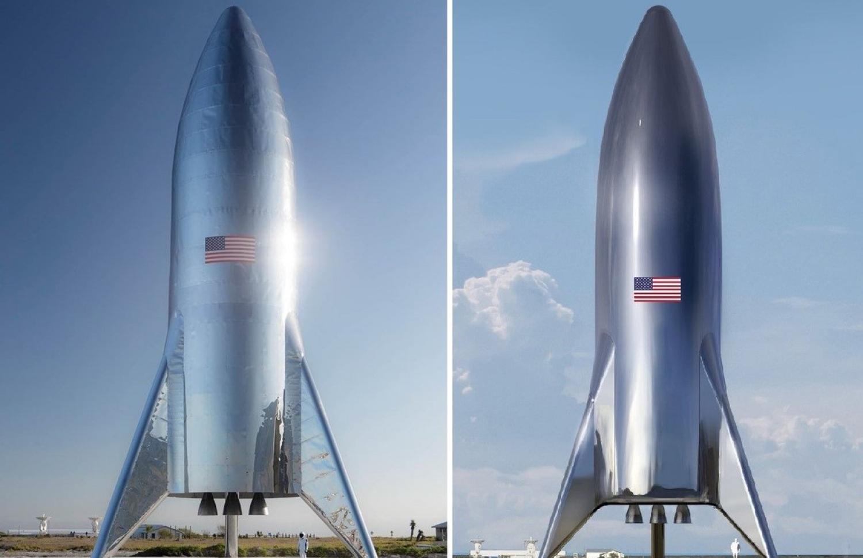 Первый прототип космического корабля Starship в Техасе (слева) в сравнении с его концептуальным изображением (справа) / Space X