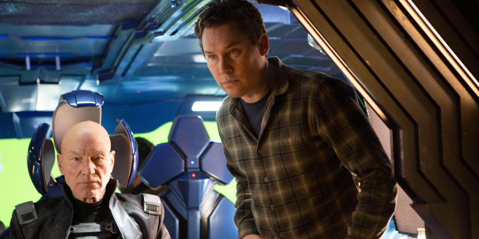 "Брайан Сингер и Патрик Стюарт на съемках фильма ""Люди Икс:Апокалипсис"", 2016 год"