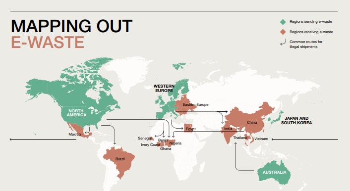 Карта передвижения электронного мусора. Зеленым обозначены страны, генерирующие отходы, коричневым - получающие. Стрелки указывают обычные маршруты нелегальных поставок / PACE