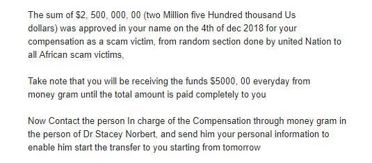 Пример фишингово письма, в котором мошенники обещают пользователю $ 5000 в обмен на персональную информацию