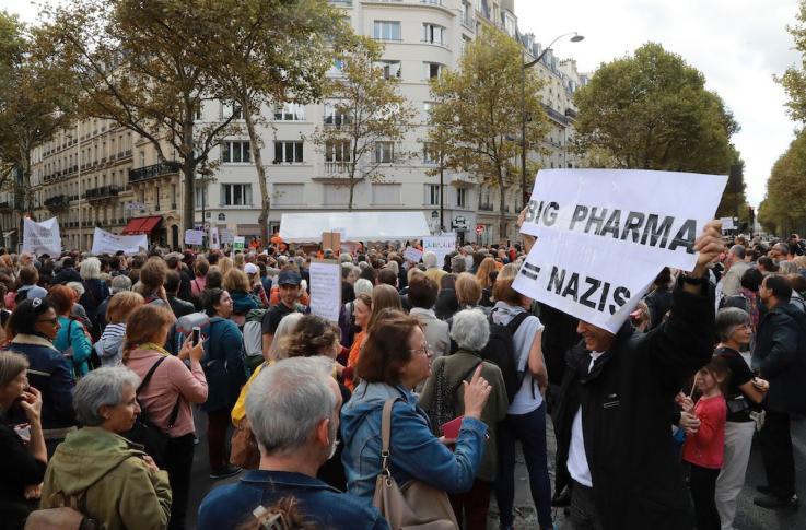 Антипрививочники протестуют против против закона об обязательной вакцинации перед Министерством здравоохранения в Париже, 2017 год