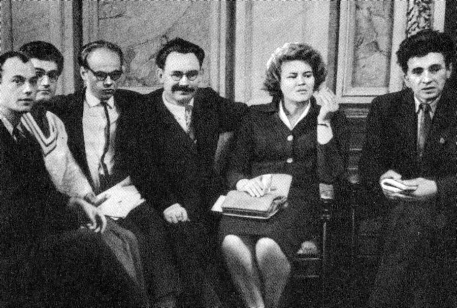 Слева направо: Николай Винграновский, Иван Дзюба, Иван Драч, Иван Светличный, Лина Костенко, Евгений Сверстюк