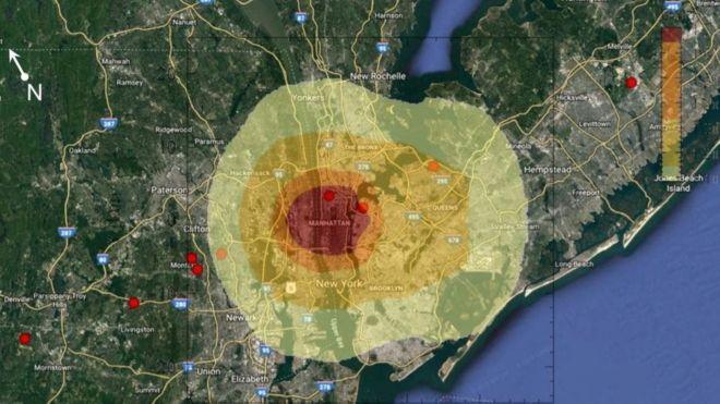 Астероид взорвался над Манхэттеном: темно-красным отмечена зона полного разрушения, как при ядерном взрыве, светло-желтым - общая зона поражения