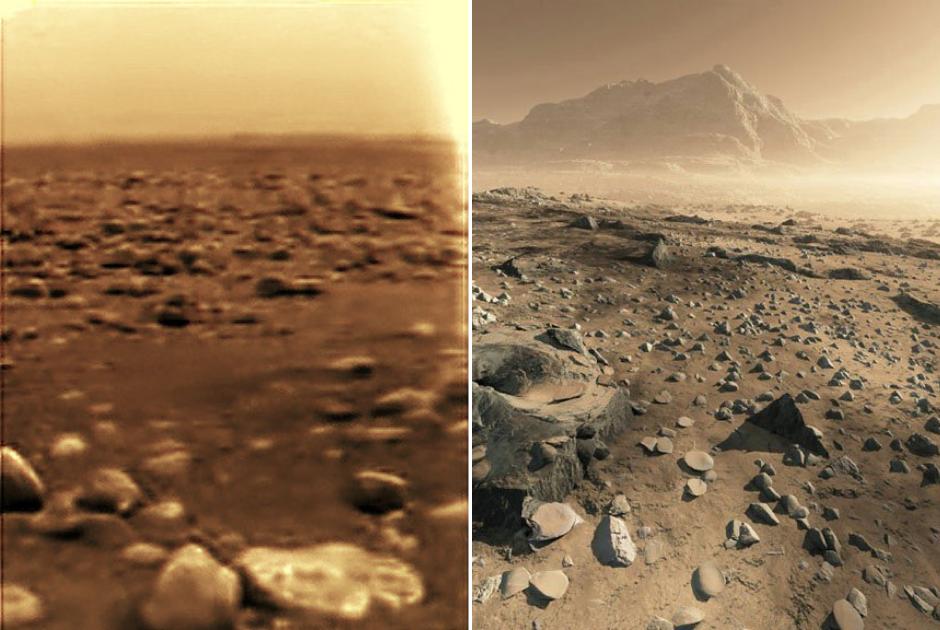 """Поверхность Титана, заснятая зондом """"Гюйгенс"""" (слева) и в представлении художника (справа)"""