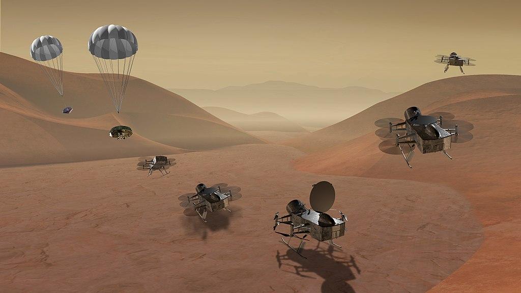 """Изображение НАСА, показывающее прибытие """"Стрекозы"""" на Титан"""